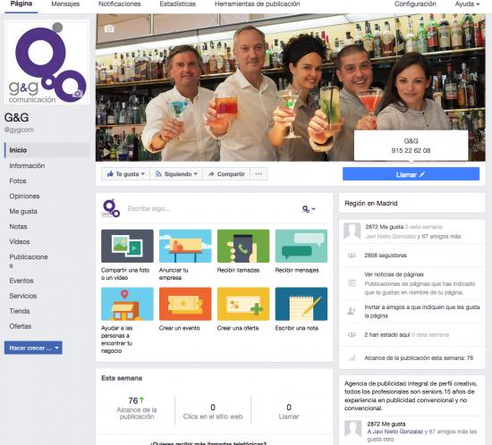 Perfil de G&G en facebook